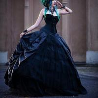 2019 Black Romantic Gothic 볼 가운 웨딩 드레스 Bridal 가운 연인 Plus Size 가운 드 soiré vestidos 드 noiva Custom Made