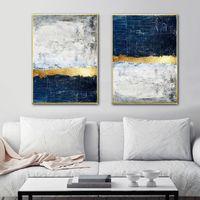 Pintura abstracta azul de la imagen de pintura arte de la pared azul impresiones Impresión de la lona de arte cuadros de la pared de la sala de decoración
