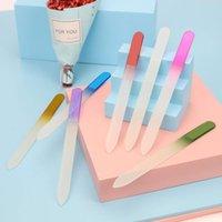 Großhandel 14cm Gradient Mischfarben-Doppelt-Seiten-Kristallglasfeile Professionelle DIY Nagel-Polierwerkzeug