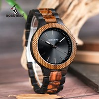 BOBO BIRD D30- 1 Two- tone Zebra Wood & Ebony Wooden Watches L...