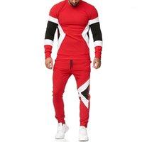 2PCS الملابس مجموعات البلوز وتتسابق الرجال الملابس أزياء رجالي مقنع رياضية مخطط طباعة مصمم نصب منصة هوديس السراويل