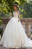 Milla Nova Lange Ärmel Brautkleider Sheer Ausschnitt Appliques Sweep Zug Satin Vintage Land Brautkleider Vestidos de Noiva