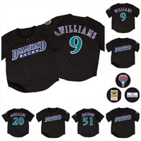 9 MATT WILLIAMS 1999 Arizona 20 Luis Gonzalez 51 Randy Johnson Schwarz-Baseball-Shirts Alle genähtes