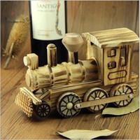 جميل اليدوية تقليد خشبي قاطرة قطار لعبة الحرف الديكورات المنزلية هدية عيد الميلاد عالية الجودة