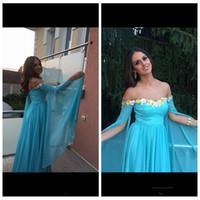 Sweetheart Chiffon Lange mouwen Prom Dresses 2020 Sweep Trein Lange Vestidos de Speciale Gelegenheid Feestjurken Goedkoop