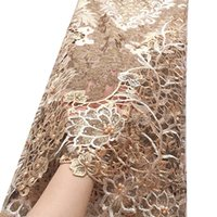 Gold African Cord-Spitze-Gewebe Wasserlösliche Hochzeitskleid Spitze-Material Steine 2020 Qualitäts-Nigerian Guipure-Spitze-Gewebe