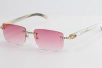 큰 돌 무테 화이트 버팔로 호른 선글라스 8200757 패션 고품질 Sun은 남성과 여성의 운전을위한 최상의 선글라스 안경