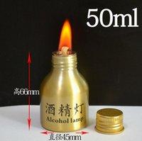 Alumínio Álcool lâmpada de alcoólica acessórios para fumar laboratório suprimentos ouro edição de ouro aço inoxidável mini lâmpadas de álcool luz de metal 50ml
