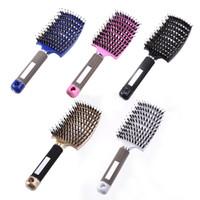6 cores Mulheres Cabelo De Cabelo Massagem Massagem Pente De Nylon Hairbrush Wet Curly Detangle Pincel De Cabelo Para Cabeleireiro De Salão Ferramentas de Estilo