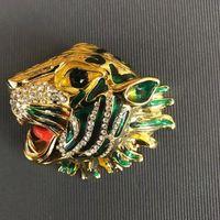 NewTiger spilla testa con il bollo di Bling Bling strass Tiger Spilla Animal Suit Jewelry Pin del risvolto di modo del regalo