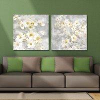 DYC 10059 2 piezas de flores blancas arte de la impresión listo para colgar las pinturas 000