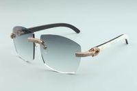 Directo de fábrica venta gran marco de lujo sencillo gafas de sol de diamante lleno de gafas T4189706-B6 de lujo sin marco vasos del templo de cuerno naturales mixtos