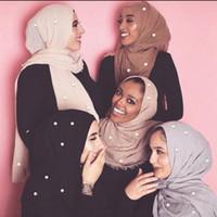 Branelli in cotone a bolle in cotone delle donne Scialle della ruga solido Solido agabello perla avvolto Pashminas Fascia Fascia Foulards Musulmani Hijab Sciarpa