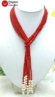 """Collana da donna in corallo rosso rotondo con 3 fili di perle naturali lunghe 45 """""""
