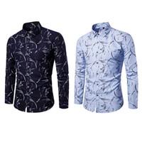 Мужская рубашка Мужская мода Работа рубашка с длинным рукавом Печать весна осень Человек Повседневный Плюс Размер азиатский размер