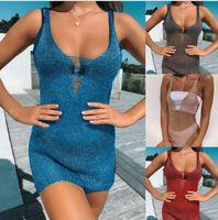 2019 Frauen reizvoller Sommer Knitting Haken höhlt heraus Silm Strand-Vertuschung-Frauen-Badeanzug-Bikini-Vertuschung-Strand-Kleid-Badebekleidungs-Badeanzug-Kleid