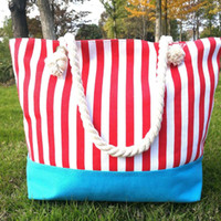 3pcs New Colorful Stripes Beach Bags Women Canvas Large Capa...