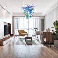 Fabrika doğrudan üst satış modern kristal avizeler 36 inç oturma odası Avrupa tarzı murano cam avize asılı lamba restoran