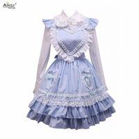 Thema Kostüm mittleres langes Kleid Ainclu Womens Baumwolle weiße Lolita-Bluse und blauer süßer Rock für Frühling / Sommer / Herbst Winter