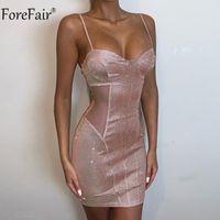 Forefair scollo a V della cinghia di spaghetti Backless partito Glitter Dress fuori dalla spalla Mini Bodycon Vedi Anche se i vestiti sexy donne di estate