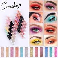 SMAKUP dix couleurs à deux têtes de fard à paupières Nacré liquide Matte éclaircissant Maquillage des yeux Outils de maquillage professionnel TSLM1