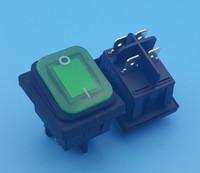 100 Stücke Wasserdichte IP67 DPST On-Off 4Pin Grüne Lampe Wippschalter 16 (10) A 250VAC