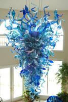 Lámparas modernas LED Cristal Chandeliers Mano Florada de cristal Chandelier Colgante Iluminación Azul Luces de arte para el hogar Decoración del hotel