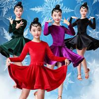 مرحلة ارتداء المخملية الأكمام طويلة الأكمام اللاتينية اللباس للبنات الأطفال أطفال المنافسة قاعة tango salsa dancewear ممارسة تشا