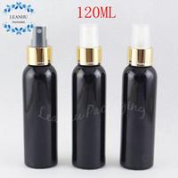 120ML rotondo nero spalla bottiglia di plastica con oro pompa spray, 120cc trucco Secondario-imbottigliamento, Toner / Acqua Packaging bottiglia