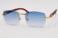 شحن مجاني ساخن T8100905 أزياء ذات جودة عالية نظارات نظارات بدون إطار خشبي منحوت من الخشب الذهب اطارات النظارات الإطار الحجم: 57-18-135m الأزرق