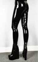 Dipsloot nueva mujer atractiva Negro Punk cuña de la plataforma Pantalones Botas Tacones Personalizar Fetiche pantalones elásticos Zapatos Mujer Zapatos Mujer