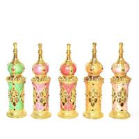 12ml Retro Vintage Metall Parfüm-Flaschen arabischen Stil aushöhlen Ätherische Öle Flasche Parfüm Glas Tropfflaschen