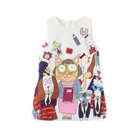 2020 Marca Princesa Vestidos para Garotas Gatos Imprimir Pescoço Redondo Crianças Drivias Presente de Natal Dog de Natal Dog Impresso Jacquard Designer Roupas
