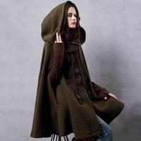 Invierno caliente de la nueva vendimia de lana con capucha Capa Escudo bordado Drop-Hombro de la manga de lana de artka mujeres prendas de vestir exteriores del cabo WA10220D