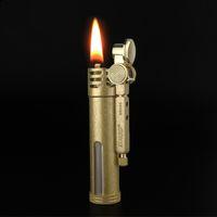 Zorro archaize clásica pura keroseno de cobre más ligero pedernal rueda de bronce encendedor de cigarrillos delgado K035 nostálgico pasado de moda llama recargable