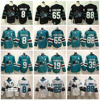 San Jose Sharks Jersey Hockey 8 Joe Pavelski 65 Erik Karlsson 19 Joe Thornton Logan Couture 88 Brent Burns 9 Evander Kane Hertl Verde Preto