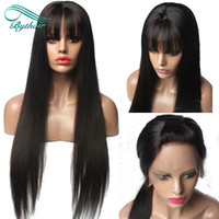 Straight Lace Front Human Hair Wigs with Bangs Virgin Brazil...