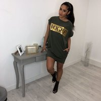 Mode-Womens Robes Femme T Shirt Robes Manches courtes Lettre Imprimer Womens Jupe Mode Casual Femmes Robe Taille S-XL