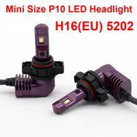 1 세트 초소형 미니 크기 CSP 칩 5202 H16EU P10 LED 헤드 라이트 올인원 1 : 1 오리지널 램프 터보 팬 포커스 빔 35W 5200lm 6000K