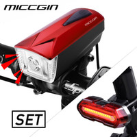 MICCGIN LED Bike Light Front Remote Horn Rear COB Bicycle Li...