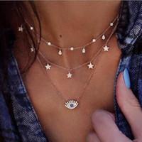 Vintage star böse augen anhänger halsketten für frauen kristall böhmischen charme multilayer halsketten brüller strand parteiaussage schmuck dhl