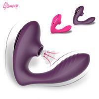 G Spot Vibrator Sucer Clit La stimulation des mamelons Léchez Vagin Godes Vibrator Sexo Oral Sex Toys Adult pour les femmes Masturbateur Y191015