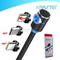 مايكرو USB شاحن المغناطيسي 3 في 1 حبال كابل 90 درجة شحن سلك لسامسونج S20 ملاحظة 10 زائد مع xmaster التجزئة التعبئة والتغليف