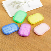 20Pcs / box Disposable Anti dust Mini Travel Paper Waunching Hand Bath Cleaning Boxed Foaming Soap Paper Scented