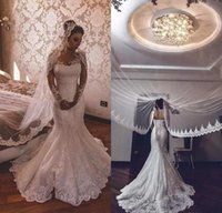 New Mermaid Wedding Dresses Jewel Neck Long Sleeves Illusion Full Lace Appliques Button Back Court Train Formal Plus Size Bridal Gowns