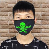 Frau Männer Glow In Dark Schädel Scarey Masken Black Mask Mund halbe Gesichts-Maskerade Cosplay-Kostüm-Schablonen DIY Partydekoration Blei