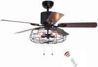 52 42 дюйма ретро промышленного потолочного потолочного вентилятора со светом 5 Древесина Реверсивный лезвие вентилятор вентилятора пульт дистанционного управления.