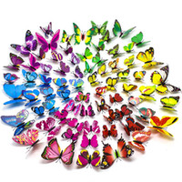 12pcs PVC 3D Butterfly Refrigerator Magnets Wall Stickers wi...