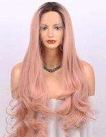 DILYS Orange Rosa Spitze Front Perücke Ombre Dunkle Wurzeln Lange Natürliche Welle Synthetische Perücken für Frauen 22 Zoll