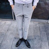 Cor sólida dos homens ocidental Calças New Business Leisure Suit cor sólida Calças Autumn coreano moda masculina Inglês